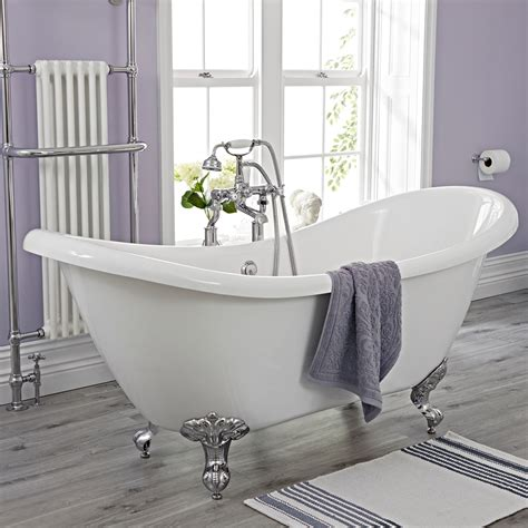 baignoire ilot ended slipper freestanding bath 1750 x 730mm with choice of