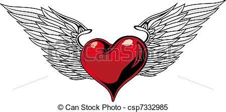 tattoo cuore con le ali clipart vettoriali di cuore tatuaggio retro rosso