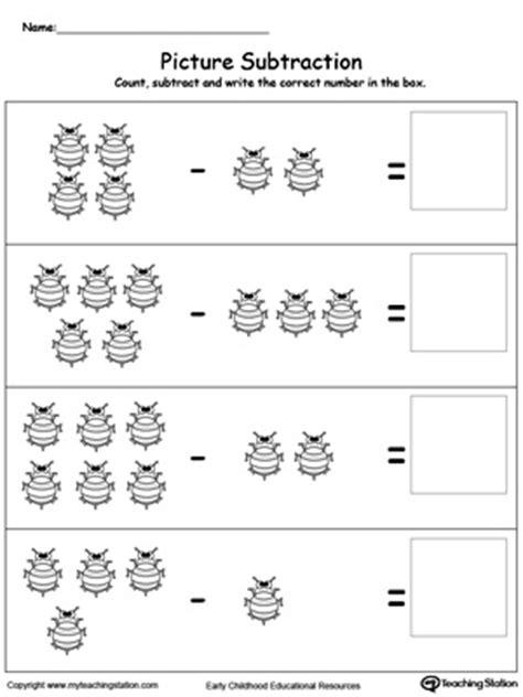 preschool subtraction printable worksheets