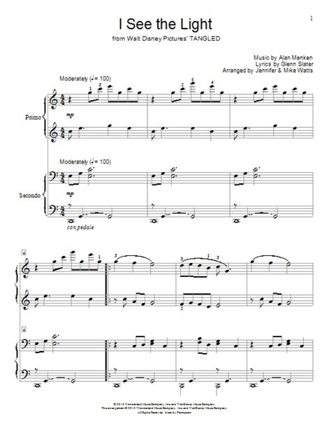i see the light sheet by alan menken piano duet