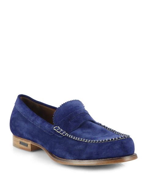 blue suede loafers for dsquared 178 suede loafers in blue for lyst