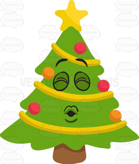 a christmas tree blowing kisses vector clip art cartoon