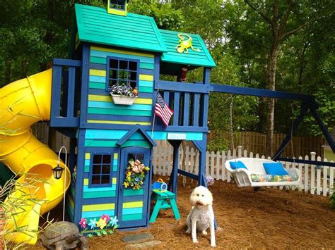 painting a swing set chalk paint 174 customer painted playhouse outdoors pinterest