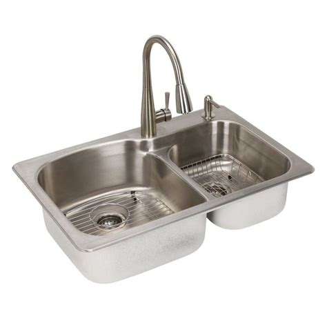 Glacier Bay All in One Dual Mount Stainless Steel 33 in. 2 Hole Double Basin Kitchen Sink