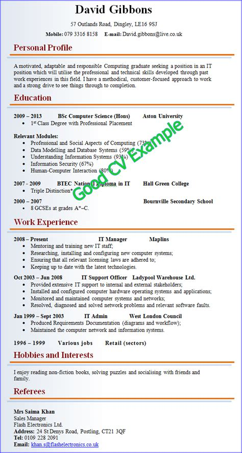 layout of a good curriculum vitae good cv exle
