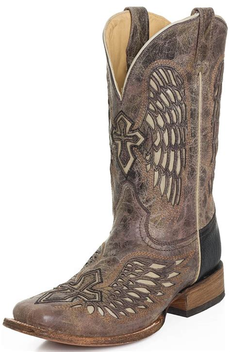 corral mens wing and cross square toe rodeo cowboy boots