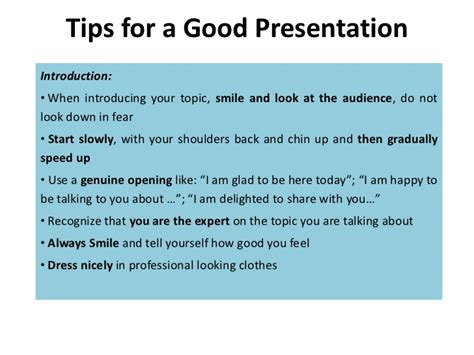 tips for a presentation