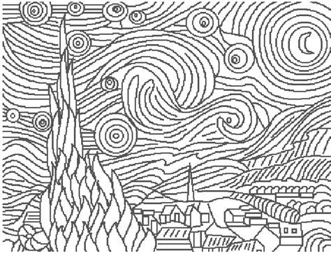 coloring page gogh starry day colouring pages search colouring