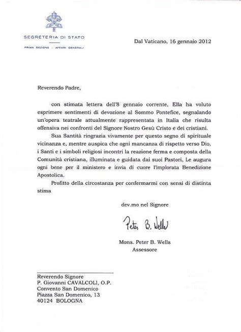 risposte a lettere di richiamo il caso castellucci la risposta della segreteria di stato