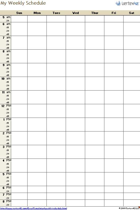 schedule template free weekly schedule template for excel
