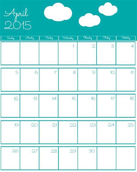printable calendar 2015 april free 2015 printable calendar the bearfoot baker