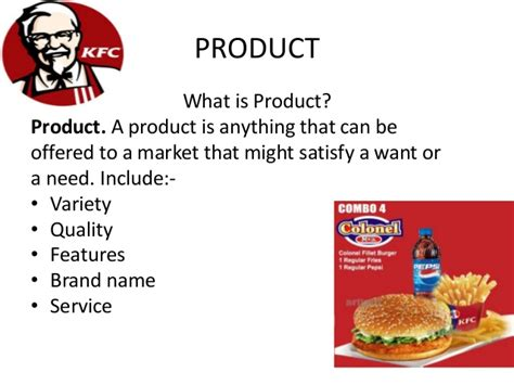 product layout of kfc marketing mix of kfc