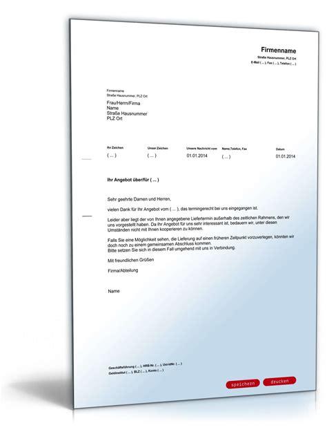 Angebot Ablehnen Musterbrief Absage Eines Angebotes Wegen Sp 228 Ten Liefertermins Muster Zum
