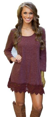 Sleeve Lace Trim A Line Dress purple sleeve a line lace stitching trim casual dress