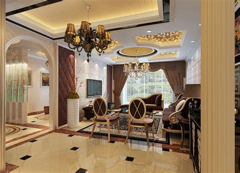 neoclassical style living room interior design with neoclassical living room ceiling unit rendering download