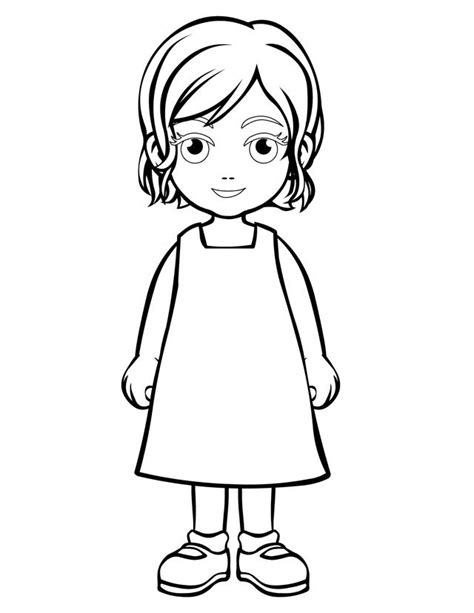 girl template coloring page little girl outline template www pixshark com images