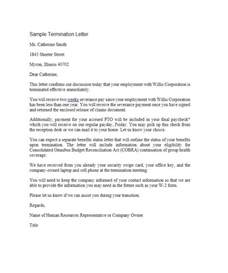 Termination Letter Template by 35 Termination Letter Sles Lease Employee Contract