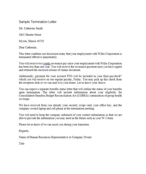 free download business vendor service contract termination letter