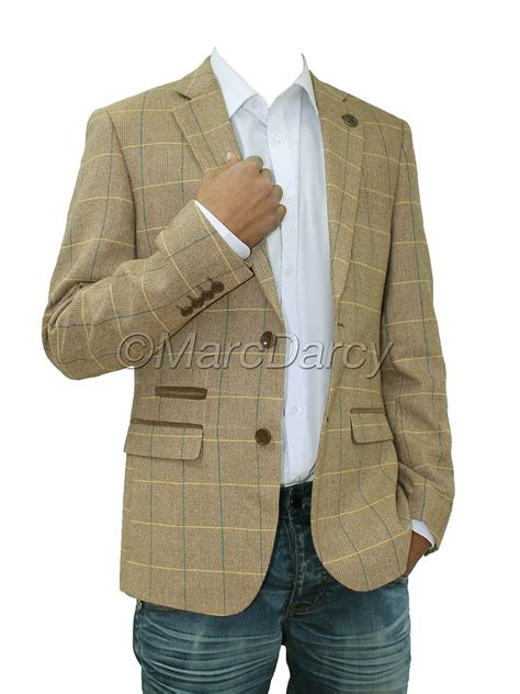 Mens designer oak brown tweed herringbone vintage coat jacket