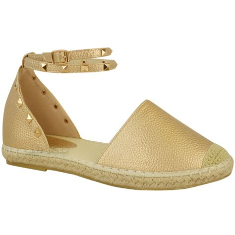 womens espadrilles ankle strappy flat summer