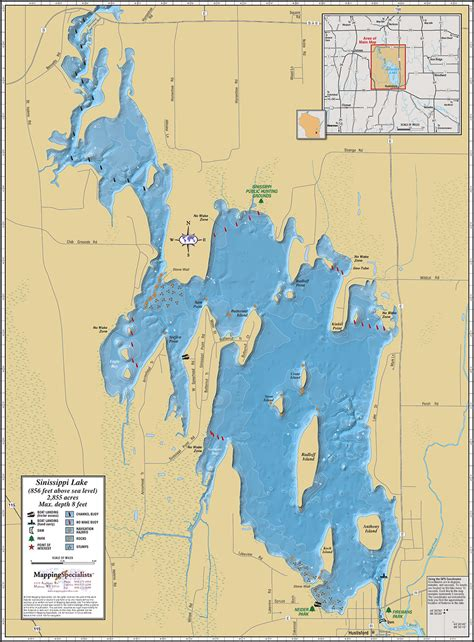lake map sinissippi lake wall map
