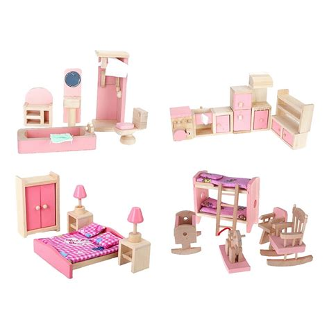 furniture for dolls house 4 sets dollhouse miniature furniture wooden toy 3d diy