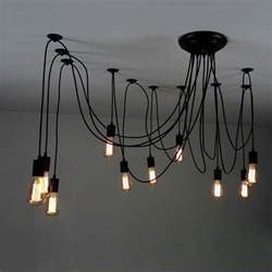 Hanging Bulb Chandelier 10 Light Adjustable Swag Pendant Black Pendant Lights Ceiling Lights Lighting