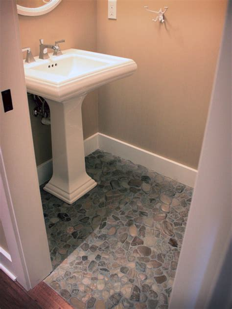 Coastal Bathroom Ideas Found Beach Rock Floor Powder Room
