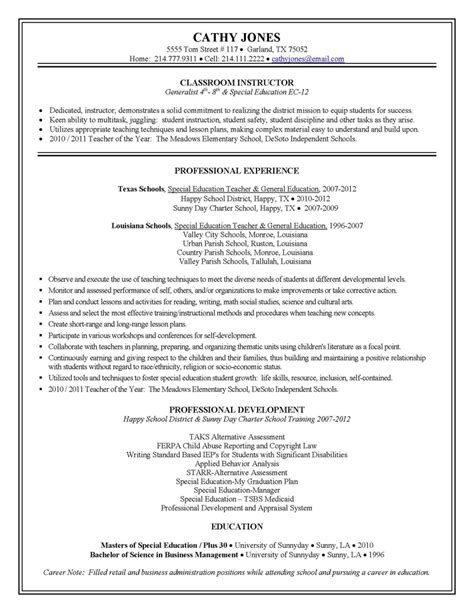 Resume Exles Special Education Aide Resume Best Template Collection