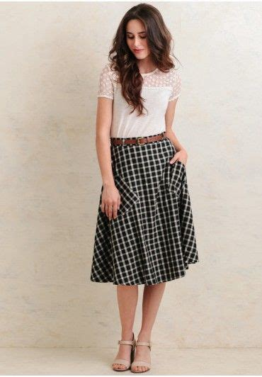Gingham A Line Midi Skirt 25 best ideas about swing skirt on fashion