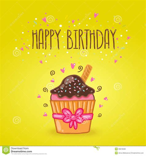 drive birthday card template happy birthday card background with cupcake stock vector