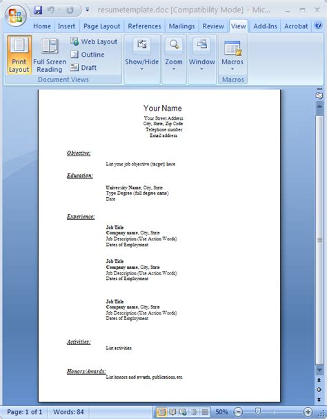 acs word template finance resumes in pdf