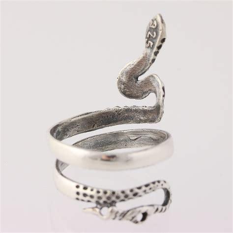 snake ring sterling silver serpent size 10 adjustable band