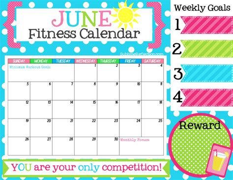 free printable fitness planner 2016 june fitness calendar sublime reflection