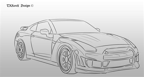 nissan skyline drawing outline nissan skyline r35 sketch by trrenx on deviantart