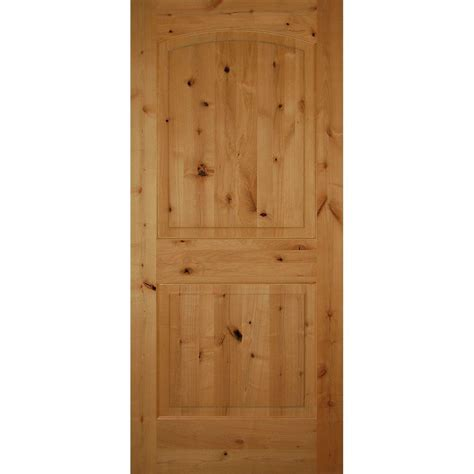 Pre Hung Solid Wood Interior Doors Builder S Choice 36 In X 80 In 2 Panel Arch Top Unfinished Solid Knotty Alder Single