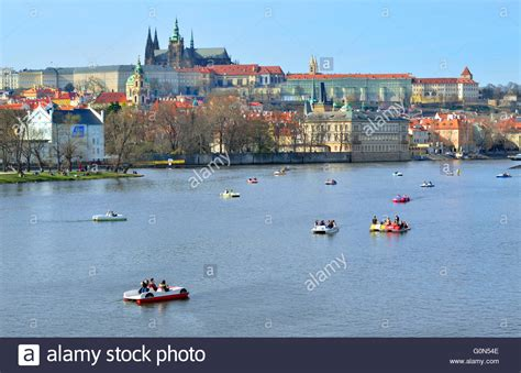 paddle boats on the vltava river paddle boat rental stock photos paddle boat rental stock