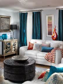 Chocolate Brown And Blue Area Rug Glamorous Transitional Living Room Natasha Eustache