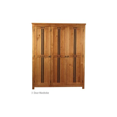 Pine 3 Door Wardrobe by Hudson 3 Door Pine Wooden Wardrobe Oak Finish
