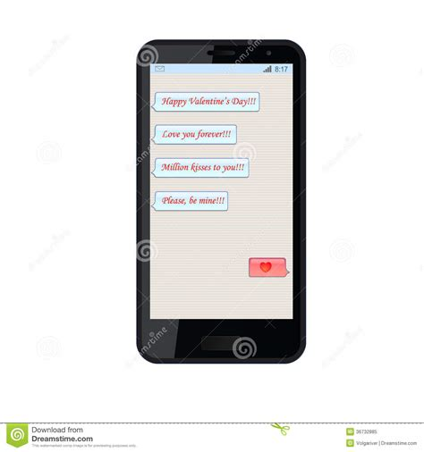 on phone messages on phone chat on valentines day stock illustration image 36732885