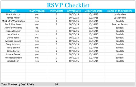 5 free wedding invitation list templates excel pdf formats