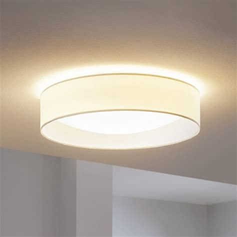 ceiling lights white eglo 31588 pasteri led white fabric flush ceiling light
