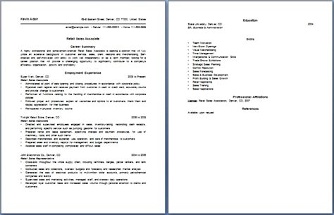 retail sales associate resume free layout format