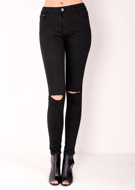 Celana Knee Ripped high waisted ripped knee classic black