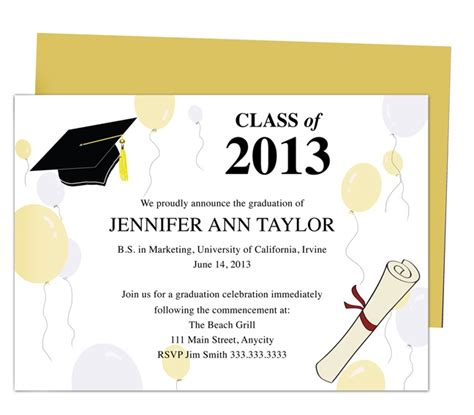 graduation invitation templates free word printable diy templates for grad announcements partytime