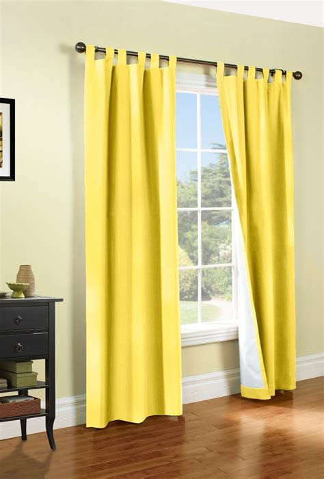 yellow tab top curtains weathermate thermologic tab top panel pair yellow