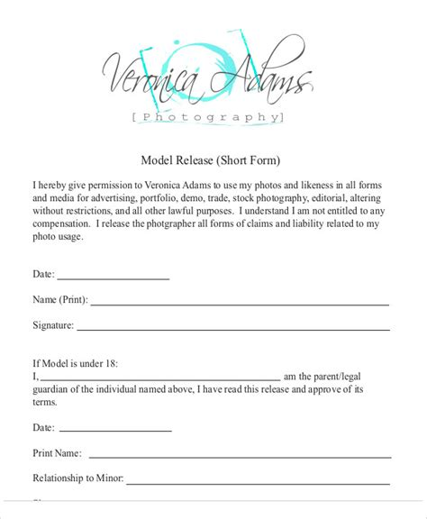 sle photography model release form 7 exles in