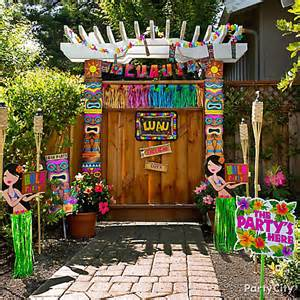 luau entrance decorating idea totally tiki luau