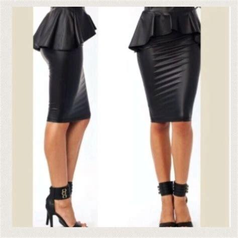 50 dresses skirts black faux leather peplum skirt