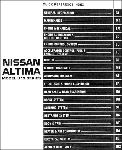 1997 Nissan Altima Repair Shop Manual Original